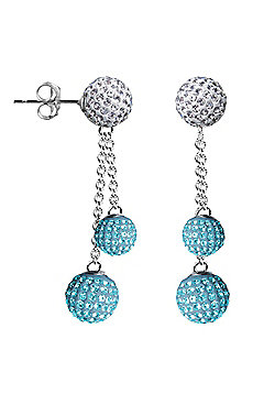 Jewelco London Sterling Silver Crystal Baby Light Blue + White Shamballa Earrings - 6mm & 8mm