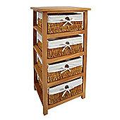 Premier Housewares Storage Unit with Four Maize Baskets - Natural