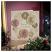 Gold and Pink Fan Luxury Christmas Cards, 6 pack