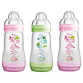 MAM Anti Colic 260ml Bottle 3pk Pink/Green