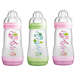 MAM Anti Colic 260ml Bottle 3pk Girl