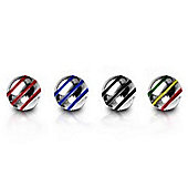Pack of Four Stainless Steel Threaded Striped Balls 1.6mm