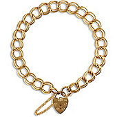 Jewelco London 9ct Solid Gold Double Curb Link Charm Bracelet - heart padlock - 6.5mm Guage