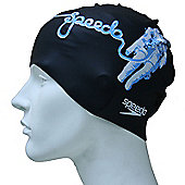 Speedo Slogan Print Senior Silicone Swimming Cap - Black