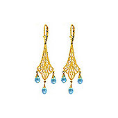 QP Jewellers 4.80ct Blue Topaz Trilogy Chandelier Earrings in 14K Gold