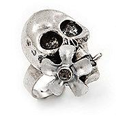 Vintage 'Skull & Flower' Ring In Burn Silver Metal (Adjustable Size 7/9) - 3cm Length