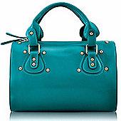 Designer Green Emerald Studded Barrel Tote Vintage Handbag