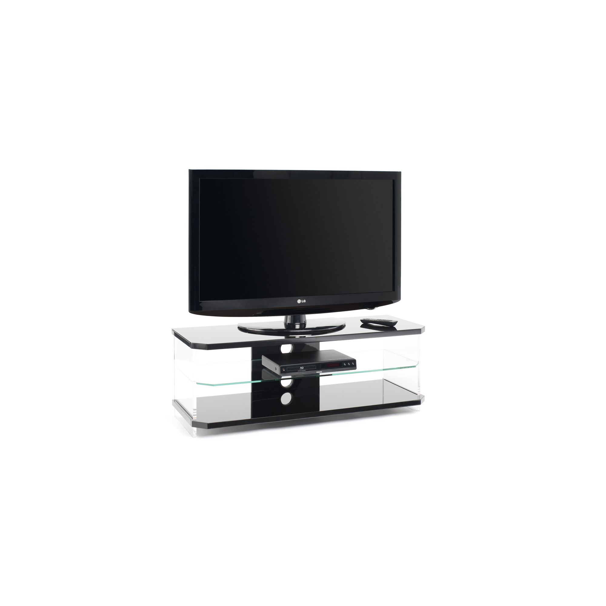 Techlink Air Acrylic and Glass 55'' TV Stand - Black at Tesco Direct