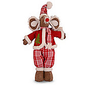 Large Male Handmade Christmas Fabric Mouse Ornament