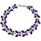 QP Jewellers 7in 16.50ct Amethyst Butterfly Bracelet in 14K White Gold
