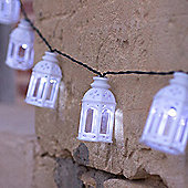 16 White Moroccan Lantern Solar LED Fairy Lights