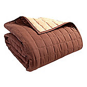 Homescapes Cotton Quilted Reversible Bedspread Chocolate Mink Brown, 230 x 250 cm