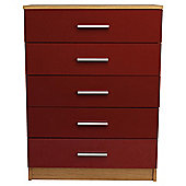 Jazz 5 Drawer Chest Oak & Red Gloss