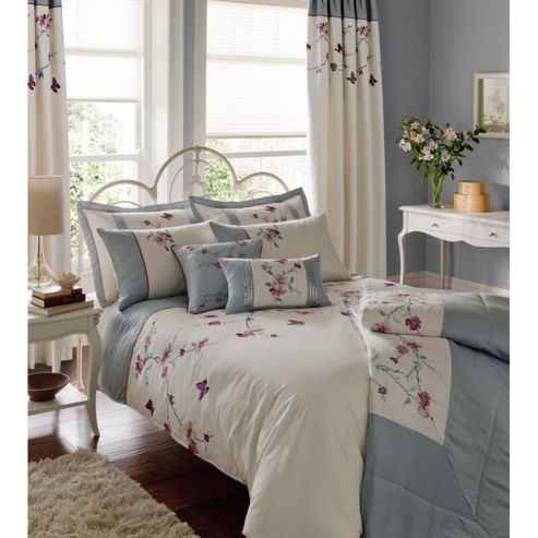 Catherine Lansfield Home Signature Butterfly Blossom Single Bed Duvet Cover Set Duckegg