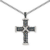 Rhodium-Coated Sterling Silver Cross Pendant