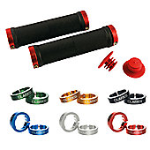 Clarks Vice Lock-on Grip in Black / Various Cols Anodized Rings - Black/Red