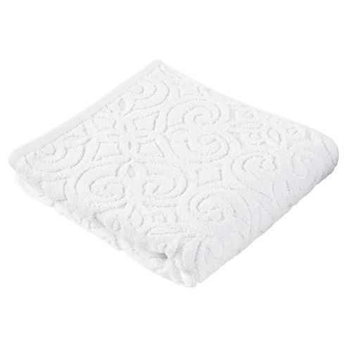 Kingsley Sculptured White Hand Towel