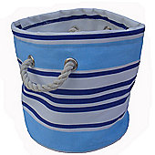 Wicker Valley One Piece Small Round Soft Storage in Blue Stripe