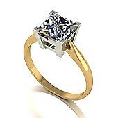 18ct Gold 7.0mm Square Brilliant Moissanite Single Stone Ring