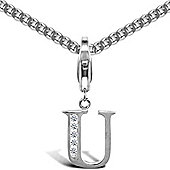 Sterling Silver Cubic Zirconia Identity Pendant - Initial U - 18inch Chain