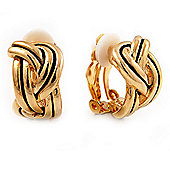 C-Shape 'Plaited' Clip On Earrings (Gold Tone)