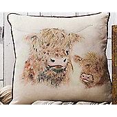 Gallery Highland Cow Cushion - Watercolour