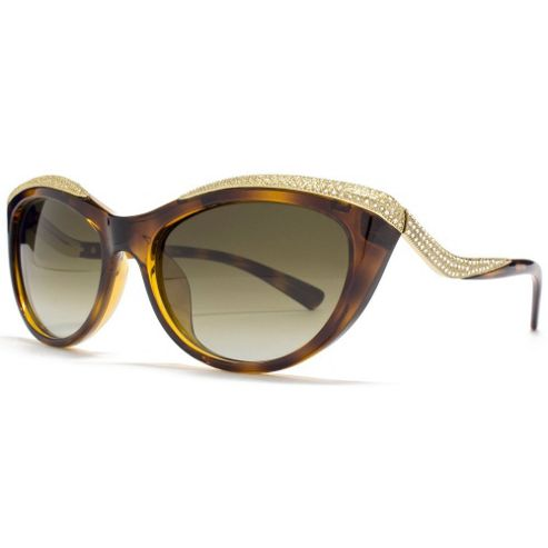 Valentino Sunglasses Diamante Detail Cateye in Dark Havana.