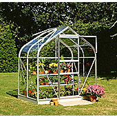 Halls 4x6 Curved Aluminium Greenhouse + Base - Toughened Glass
