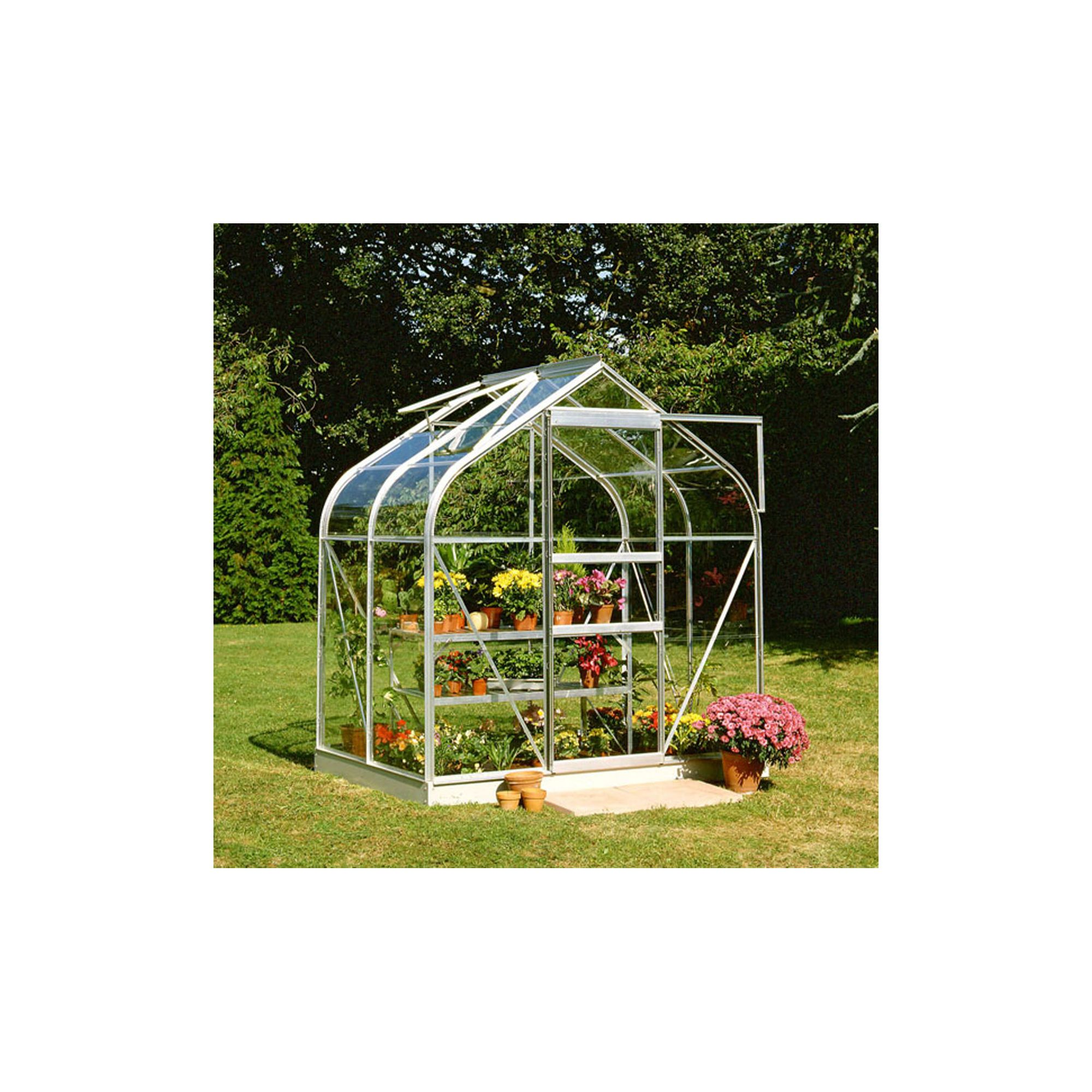 Halls 4x6 Curved Aluminium Greenhouse + Base - Toughened Glass at Tesco Direct