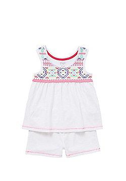F&F Aztec Puff Print Shorts Pyjamas - White