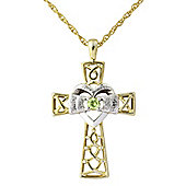 Silver with yellow rhodium overlay Peridot Pendant with Chain