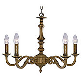 Traditional 5 Light Cast Brass Pendant Lamp with Metal Candle Drips