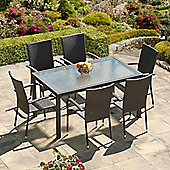 SunTime Lincoln 1.5m Grey Rattan Garden Dining Set
