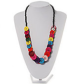 Multicoloured Plastic Button Necklace - 60cm Length