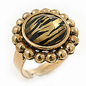 Antique Gold Effect Round 'Tigra' Animal Print Ring with Acrylic Gem - 20mm Size 7/8 Expandable
