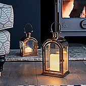 Set of Two Copper Battery LED Candle Lanterns