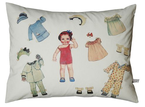 Leni vintage paper doll cushion