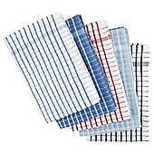 Tesco Basics Check Blue and Red Tea Towels, 5 Pack