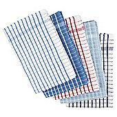 Tesco Basics Pack of 5 Blue & Red Check Tea Towels