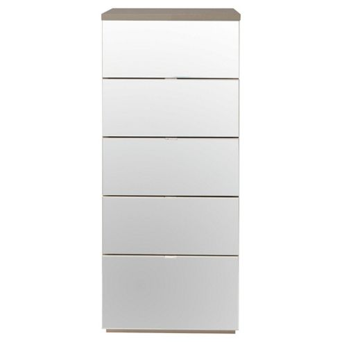 Palermo Tall Boy Chest Taupe Mirrored
