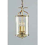 Impex Lighting Orly 2 Light Blown Glass Hanging Lantern - Polished Brass