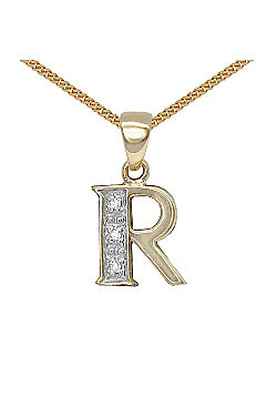 Jewelco London 9 Carat Yellow Gold Elegant Diamond-Set Pendant on an 18 inch Pendant Chain Necklace - Inital R