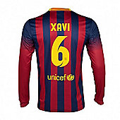 2013-14 Barcelona Home Long Sleeve Shirt (Xavi 6) - Red