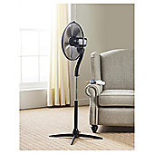 "Tesco 16"" Pedestal Fan with Remote, 3 Speed - Black"