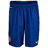 2012-13 Man Utd Away Goalkeeper Shorts (Blue) - Kids - Blue