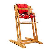 Beech BabyDan Danchair High Chair & Red Comfort Cushion