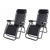 2X Palm Springs Zero Gravity Garden Chairs Lounge/Outdoor Yard Patio Chair Black