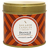 Shearer Candle Tin orange and Cinnamon