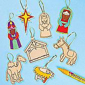 Crafts Nativity Wooden Hanging Decorations(12 Pcs)