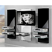 Triskom Three Panel TV Stand - White Centre / Black Sides